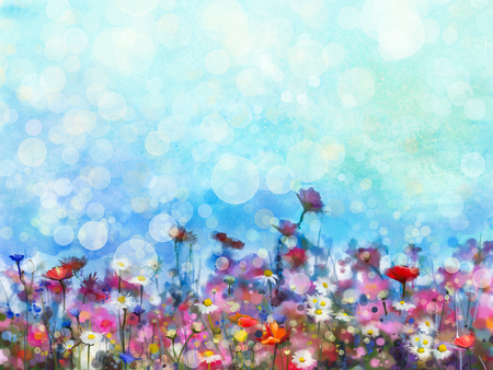 Watercolor painting purple cosmos flower, white daisy, cornflower, wildflower. Flowers meadow, green field paintings. Hand painted floral with bokeh and green blue sky. Spring flower nature background