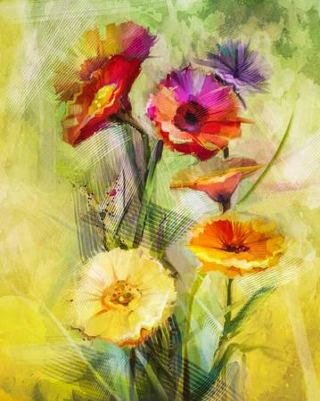 Waterverf het schilderen van bloemen. Hand verf stilleven boeket van gele, oranje, witte gerbera bloemen op grunge textures achtergrond. Vintage schilderstijl. Lentebloem natuur achtergrond