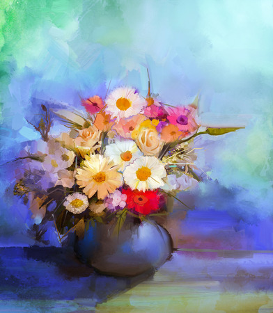 still life flowers: Oil painting flowers in vase. Hand paint  still life bouquet of White,Yellow and Orange Sunflower, Gerbera, Daisy flowers. Vintage flowers painting in soft green, blue and purple color background.