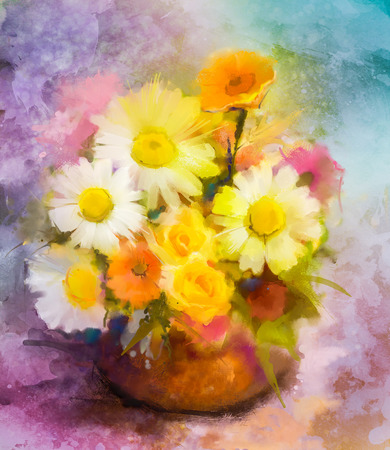 still life: Watercolor painting flowers. Hand paint bouquet still life of yellow, orange, red daisy- gerbera floral in vase on grunge textures background. Vintage painting style. Spring flower nature background