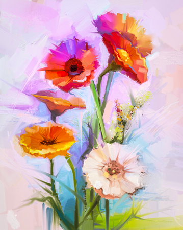 still life flowers: Abstract oil painting of spring flowers. Still life of yellow and red gerbera flower. Colorful Bouquet flowers with light purple, blue color background. Hand Painted floral modern Impressionist style