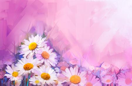 油絵花。ハンド ペイント静物花束ホワイト ガーベラ、デイジーの花の。ビンテージ花ソフト赤と紫の色の背景の絵します。