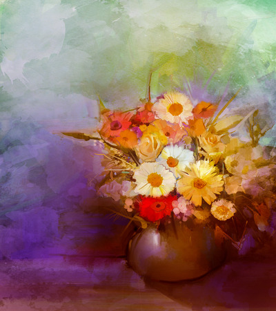 gerbera daisy: Oil painting flowers in vase. Hand paint  still life bouquet of White,Yellow and Orange Sunflower, Gerbera, Daisy flowers. Vintage flowers painting in soft green, blue and purple color background.