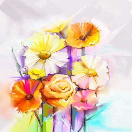 red rose bouquet: Abstract oil painting spring flower. Still life of yellow, pink, red gerbera and rose bouquet. Colorful flowers painting with light gray color background. Hand Painted floral Impressionist style