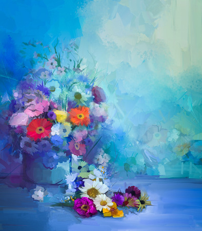 Oil painting flowers in vase. Hand paint  still life bouquet of White,Yellow and Orange Sunflower, Gerbera, Daisy flowers. Vintage flowers painting in soft green, blue and purple color background.