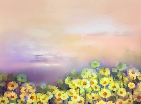 orange gerbera: Oil painting yellow, golden daisy flowers in fields. Sunset meadow landscape with wildflower, sky in orange and blue violet color background. Hand Paint summer floral Impressionist style