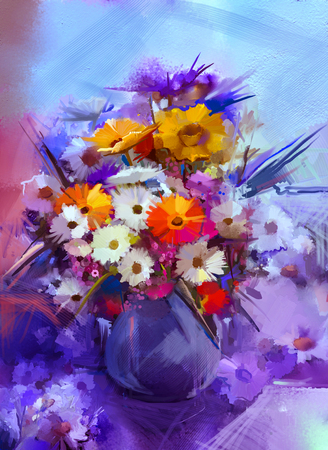 still life flowers: Oil painting flowers in vase. Hand paint  still life bouquet of White,Yellow and Orange Sunflower, Gerbera, Daisy flowers. Vintage flowers painting in soft blue and purple color background.