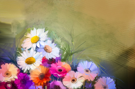 orange gerbera: Oil painting flowers. Hand paint  still life bouquet of White,Yellow and Orange Sunflower, Gerbera, Daisy flowers. Vintage flowers painting in soft red and purple color background.