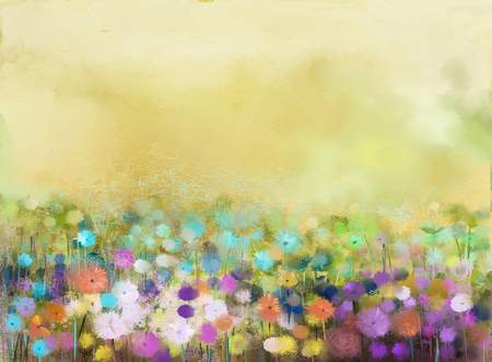 Abstract oil painting flowers plant. Purple cosmos, white daisy, cornflower, wildflower, dandelion flower in fields. Hand painted floral meadow and yellow background. Spring flower nature background. 免版税图像 - 61621320