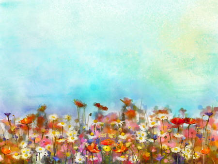Watercolor painting purple cosmos flower, white daisy, cornflower, wildflower. Flowers meadow, green field paintings. Hand painted floral and green blue sky. Spring flower nature background