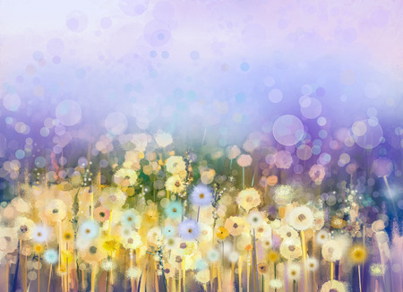 Abstract oil painting flowers plant. Dandelion flower in fields. Meadow landscape with wildflower. Purple,Blue sky color with bokeh. Hand Paint floral Impressionist. Summer-spring nature background. Фото со стока