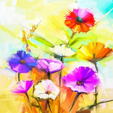 Pittura a olio astratta di fiori primaverili. Still life di giallo e rosso fiore gerbera. Fiori variopinti bouquet con la luce viola, sfondo blu colore. Dipinto a mano floreale stile impressionista moderno