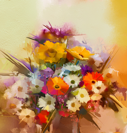 still life flowers: Oil painting flowers in vase. Hand paint  still life bouquet of White,Yellow and Orange Sunflower, Gerbera, Daisy flowers. Vintage flowers painting in soft color and blur style background. Stock Photo