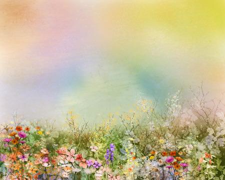 Abstraktes Ölgemälde Blumen Pflanzen. Lila Kosmos, weiße Gänseblümchen, Kornblume, Wildblumen, Löwenzahn Blume in Feldern. Hand bemalt Blumenwiese und gelben Hintergrund. Frühlingsblume Natur Hintergrund. Standard-Bild
