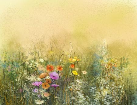 fiori di campo: Astratti fiori pittura ad acquerello e foglie morbide. Vintage pittura ad acquerello fiori di colore morbido e sfocatura dello sfondo. texture di colore giallo-marrone su sfondo carta grunge. Archivio Fotografico