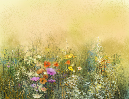 Abstract watercolor painting wildflowers and soft leaves. Vintage watercolor painting  flowers in soft color and blur background. Yellow-brown color texture on grunge paper background.
