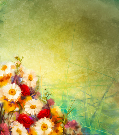 red gerber daisy: Watercolor painting vintage flowers background with blank space for your design or text. Hand paint still life bouquet of yellow ,orange, white gerbera, rose flowers on grunge textures background