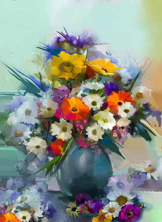 orange gerbera: Oil painting flowers in vase. Hand paint  still life bouquet of White,Yellow and Orange Sunflower, Gerbera, Daisy flowers. Vintage flowers painting in soft green and blue color  background