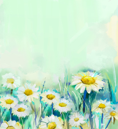 gerbera daisy: Oil painting daisy flowers in field. Hand paint white flowers gerbera daisy in soft color on green - blue color background. Spring flower seasonal nature background.