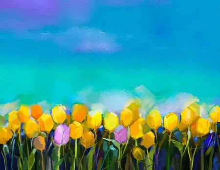 bright paintings: Oil painting tulips flowers. Hand paint yellow and violet tulip flowers at field with green blue sky background. Spring, summer season nature background. Semi abstract flower painting background. Stock Photo