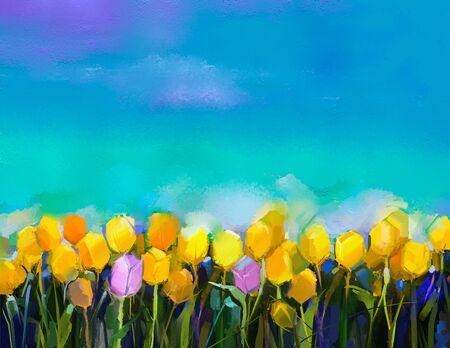 Peinture à l'huile tulipes fleurs. peinture à la main des fleurs de tulipes jaunes et violettes au champ avec vert fond de ciel bleu. Printemps, été saison nature background. Semi peinture abstraite de fleur de fond.