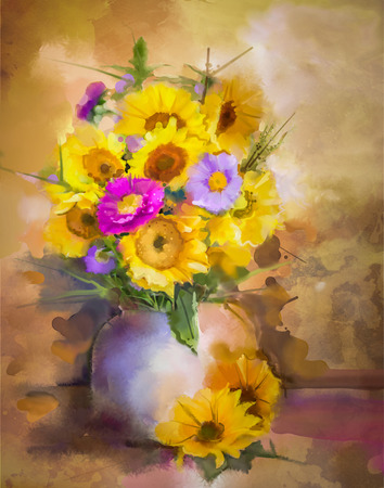 flowers in vase: Watercolor painting flowers. Hand paint bouquet still life of yellow sunflower and violet aster flowers in vase on grunge textures background. Vintage painting style. Spring flower nature background. Stock Photo