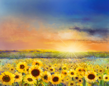 golden field: Sunflower flower blossom.Oil painting of a rural sunset landscape with a golden sunflower field. Warm light of the sunset and hill color in orange and blue color at the background.