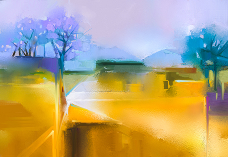 Abstract oil painting background. Colorful yellow and purple sky oil painting landscape on canvas. Semi- abstract tree, hill and field, meadow. Sunset landscape oil painting nature background.