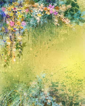 Watercolor painting white, yellow, red Ivy flowers and soft leaves. Yellow-brown color texture on grunge paper. Vintage painting flowers in soft color and blur style. Spring flower seasonal background. 스톡 콘텐츠