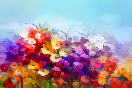 Abstract oil painting white,yellow, red daisy, gerbera flower in field. Painting summer, spring flowers in meadows landscape. Purple, blue sky color background. Hand painted floral Impressionist style
