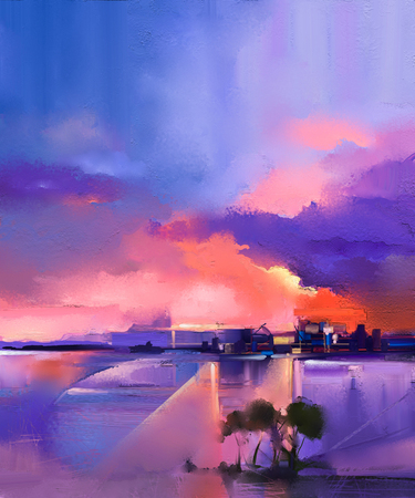Abstract oil painting background. Twilight, sunset, colorful orange and purple sky oil painting landscape on canvas. Semi- abstract tree, hill and sea. Sunset landscape oil painting nature background.