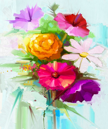 still life: Abstract oil painting of spring flowers. Still life of yellow and red gerbera, daisy flower. Colorful Bouquet flowers with light green-blue color background. Hand Painted floral Impressionist style