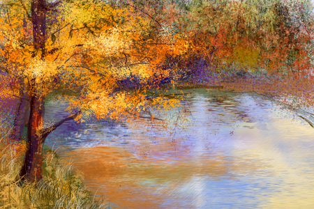 Oil painting landscape - colorful autumn trees. Semi abstract image of forest, trees with yellow - red leaf and lake. Autumn,Fall season nature background. Hand Painted landscape, Impressionist style