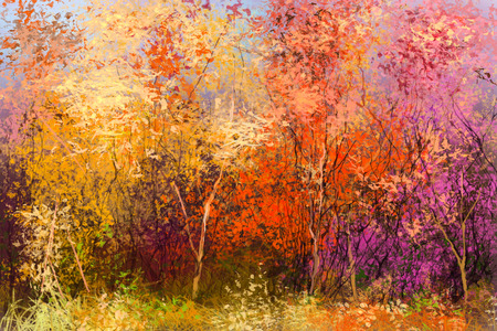 Oil painting landscape - colorful autumn trees. Semi abstract image of forest, trees with yellow - red leaf. Autumn, Fall season nature background. Hand Painted Impressionist style. Standard-Bild
