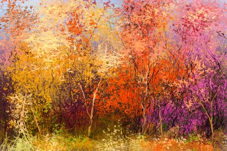 Obraz olejny krajobraz - kolorowe jesienne drzewa. Semi abstrakcyjny obraz z lasów, drzew z żółto - czerwonym liściem. Jesień, jesień sezon tle przyrody. Ręcznie malowane stylu impresjonistycznym. Zdjęcie Seryjne