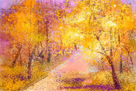 painted background: Abstract oil painting colorful fallen leaves landscape. Semi- abstract image of trees with yellow, red leaf. Autumn forest, Fall season nature background. Hand Painted forest Impressionist art style.