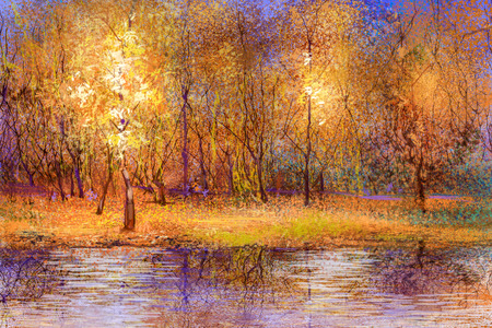 Olieverfschilderij landschap - kleurrijke herfst bomen. Semi abstract beeld van bos, bomen met gele - rood blad en het meer. Herfst, herfst seizoen natuur achtergrond. Hand geschilderd landschap, impressionistische stijl