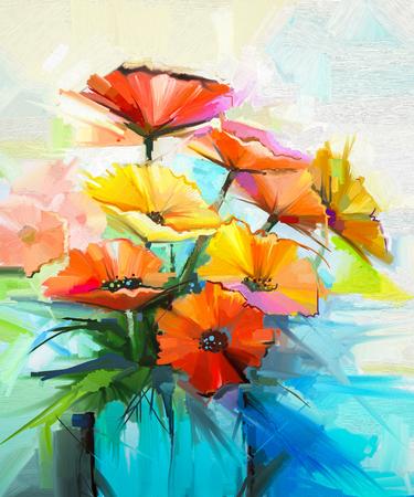 Olieverfschilderij lentebloem achtergrond. Stilleven van geel, roze, rode gerbera boeket in de vaas. Kleurrijke bloemen schilderen met lichtgrijze gele achtergrond. Hand geschilderde bloemen impressionistische stijl Stockfoto