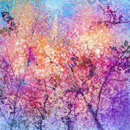 Het abstracte waterverf schilderen van de lente bloemen, natuur achtergrond. Kersenbloesem, roze bloemen met blauwe hemel. Met de hand geschilderd landschap, de lente seizoen achtergrond
