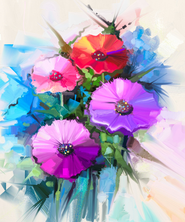 Abstract oil painting of spring flowers. Still life of yellow and red gerbera, daisy flower. Colorful Bouquet flowers with light green-blue color background. Hand Painted floral Impressionist style