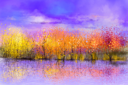 yellow trees: Oil painting landscape - colorful autumn trees. Semi abstract image of forest, trees with yellow, red leaf and lake. Autumn, Fall season nature background. Hand Painted landscape, Impressionist style
