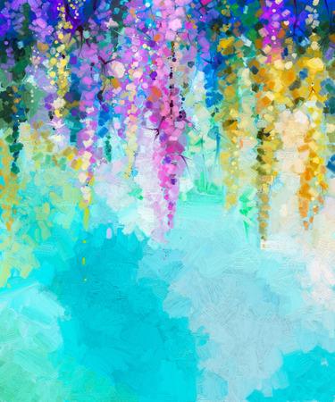 Abstract olieverfschilderij van lentebloemen. Handgeschilderde violette, gele en rode bloemen in zachte kleur op blauwe groene kleurachtergrond. Ivy bloemen in boom park. Lente bloemen seizoensgebonden natuur achtergrond Stockfoto