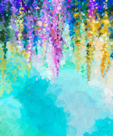 Abstract oil painting of spring flowers. Hand painted violet, yellow and red flowers in soft color on blue green color background. Ivy flowers in tree park. Spring floral seasonal nature background Archivio Fotografico