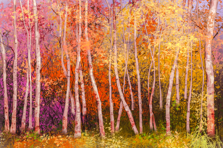aspen leaf: Oil painting landscape - colorful autumn trees. Semi abstract image of forest, aspen trees with yellow and red leaf. Autumn, Fall season nature background. Hand Painted landscape, Impressionist style.