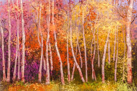 Olieverfschilderij landschap - kleurrijke herfst bomen. Semi abstract beeld van het bos, esp bomen met gele en rode bladeren. Herfst, herfst seizoen natuur achtergrond. Hand geschilderd landschap, impressionistische stijl. Stockfoto