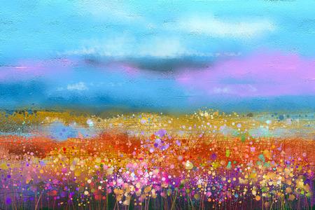 Abstracte kleurrijke olieverf landschap achtergrond. Semi abstract beeld van wilde bloemen en veld. Gele en rode wilde bloemen bij weide met blauwe hemel. Lente, zomer seizoen natuur achtergrond.