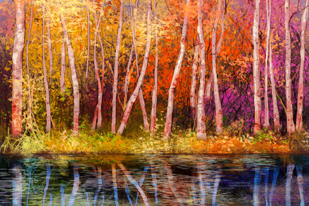 aspen tree: Oil painting landscape - colorful autumn trees. Semi abstract image of forest, trees with yellow - red leaf and lake. Autumn, Fall season nature background. Hand Painted landscape, Impressionist style
