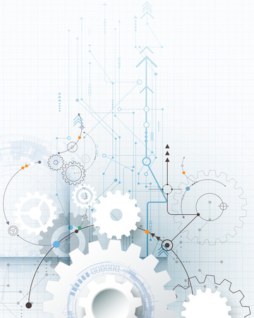 Vector illustration gear wheel, hexagons and circuit board, Hi-tech digital technology and engineering, digital telecom technology concept. Abstract futuristic on light blue color background. Stock Illustratie