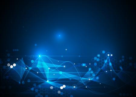 Illustratie Abstracte moleculen en netlijnen, cirkels, veelhoekvormen. Vectorontwerpcommunicatietechnologie op blauwe achtergrond. Futuristische digitale technologie concept