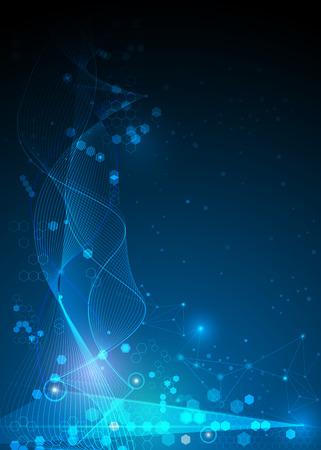 Illustratie Abstracte Moleculen en Mesh lijnen, cirkels, Polygon vormen. Vector design communicatietechnologie op een blauwe achtergrond. Futuristic- digitale technologie concept.